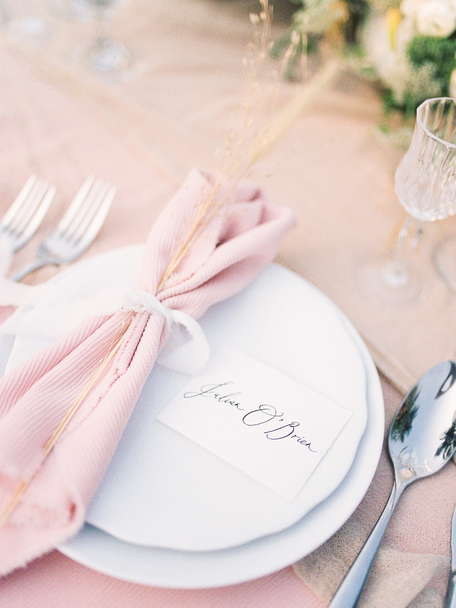 Blush table setting