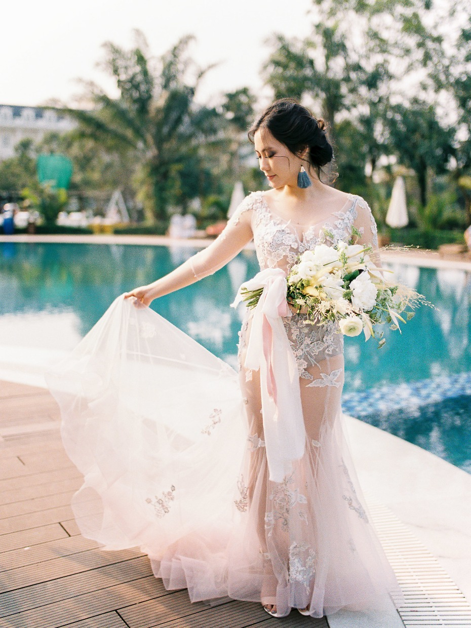 Blush see-through mermaid gown