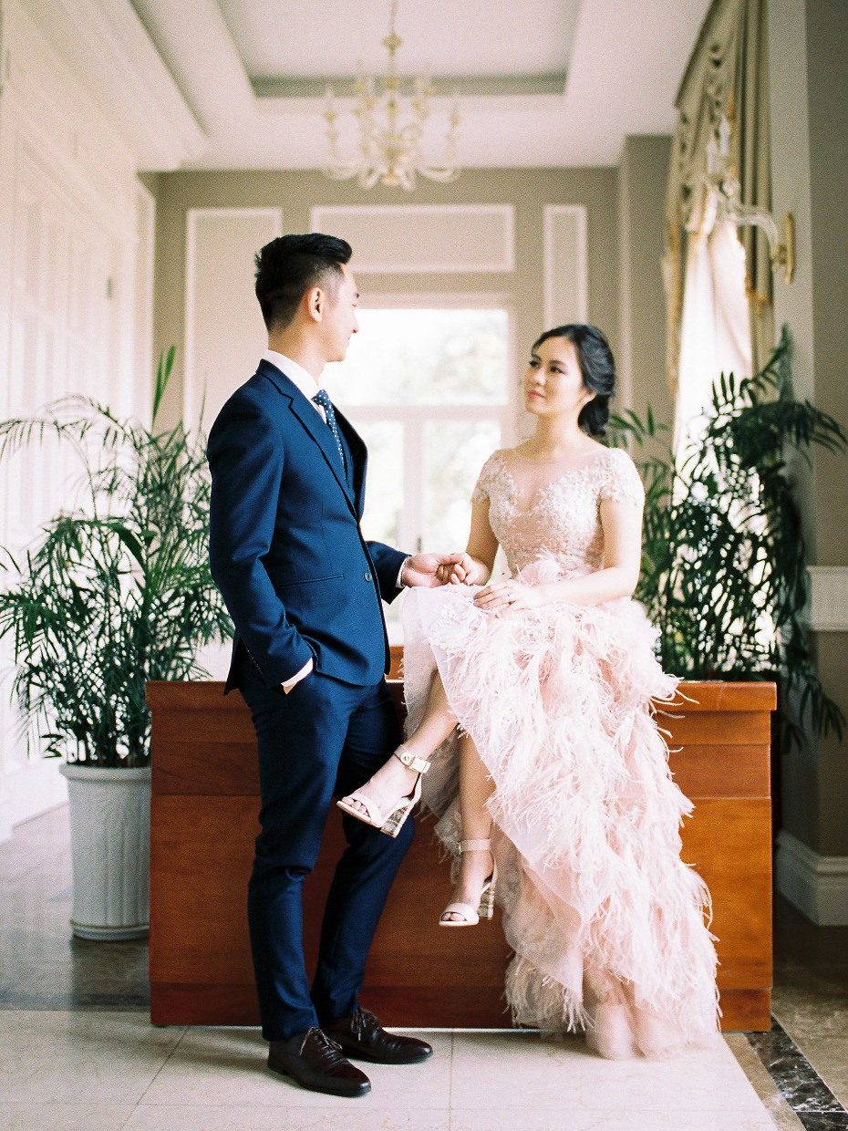 This feathery blush gown is gorgeous
