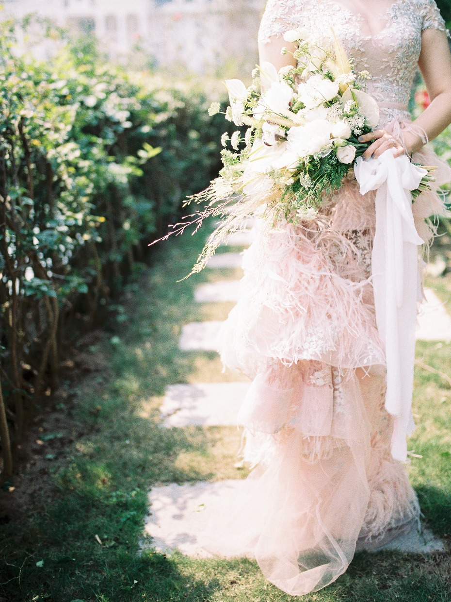 Feathery blush gown