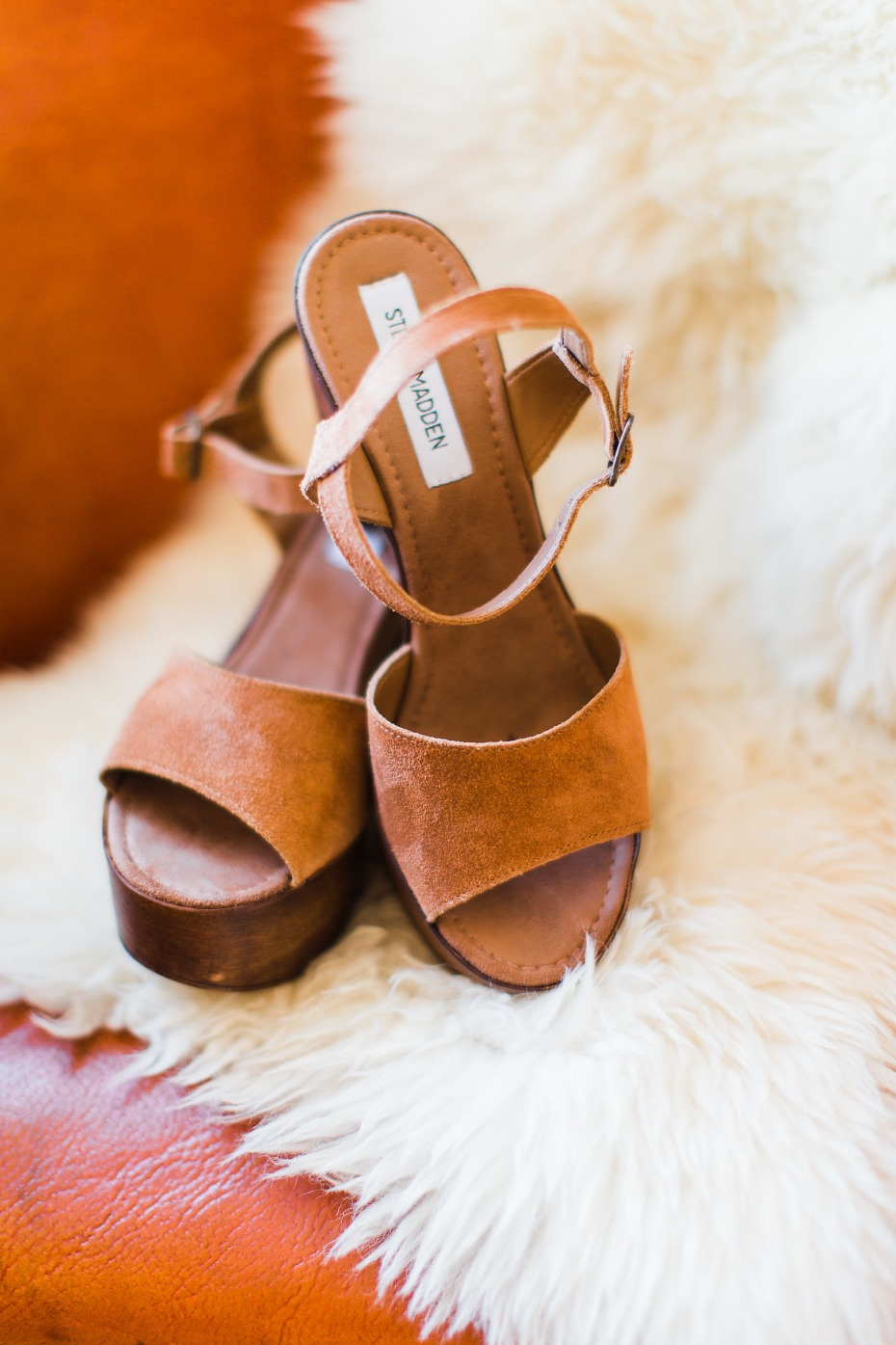 Leather and wood Steve Madden's for the bride