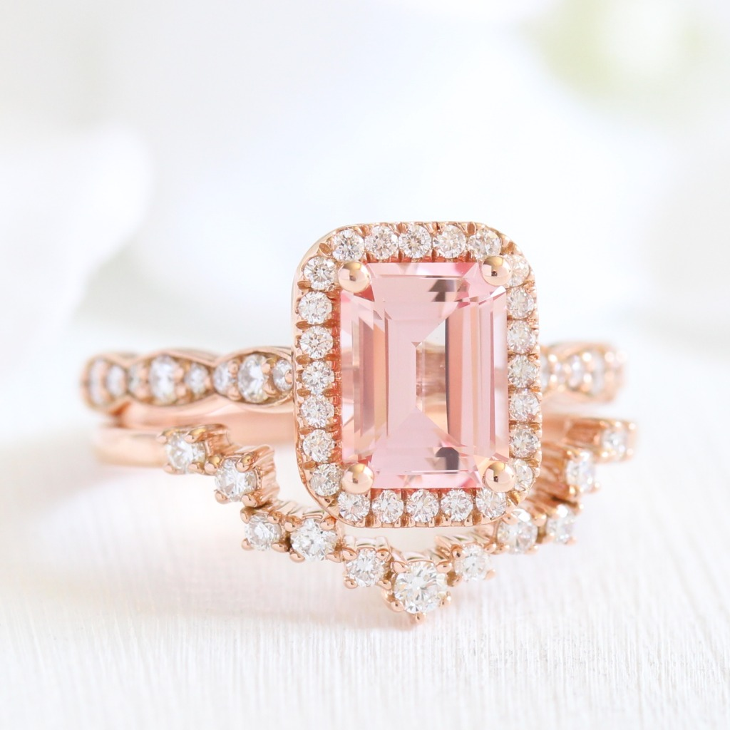 Absolutely stunning! Bridal set of Emerald Cut Champagne Peach Sapphire Halo Engagement Ring in Scalloped Diamond Band paired with