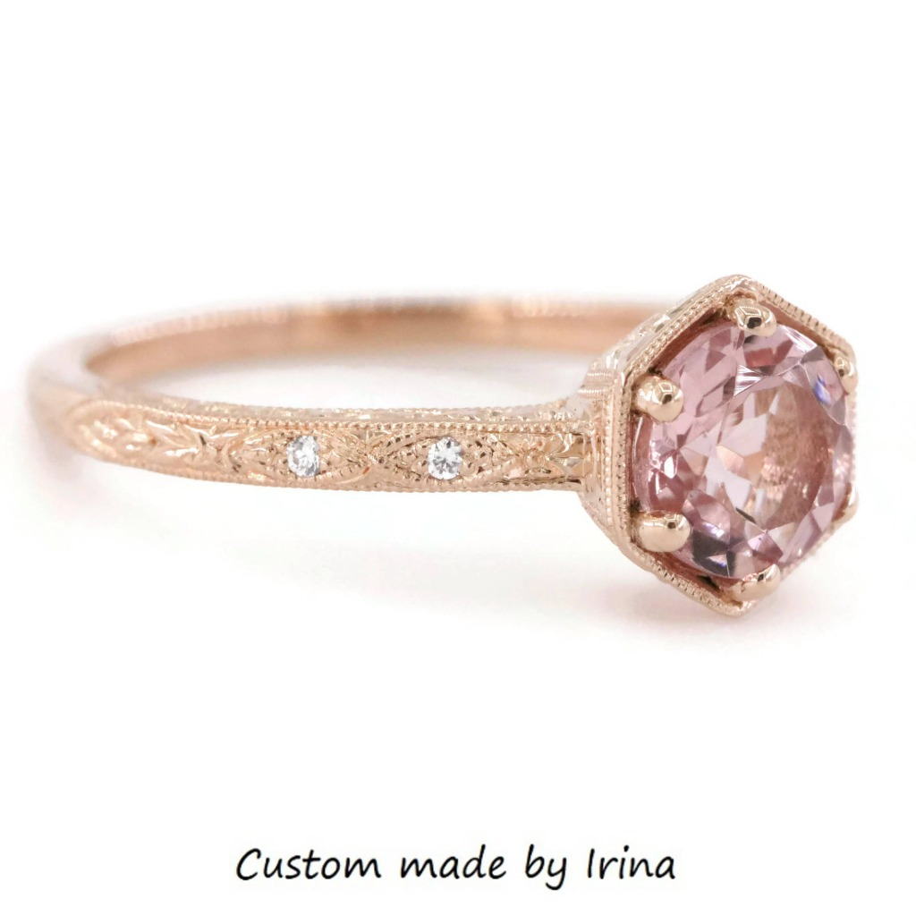 Vintage style engraved morganite ring in 14k rose gold.