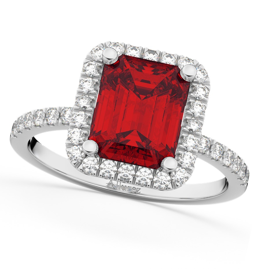 Allurez Ruby Halo Engagement Ring