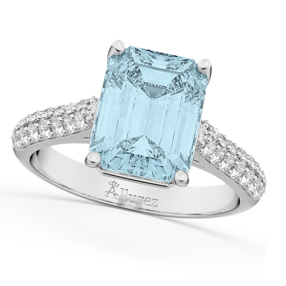 Allurez Aquamarie Emerald Cut Engagement Ring