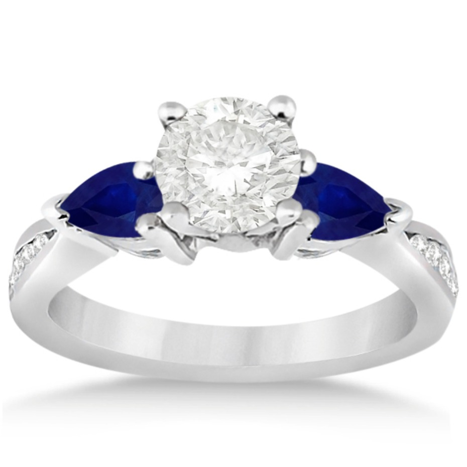 Allurez Diamond Engagement Ring with Side Blue Sapphires