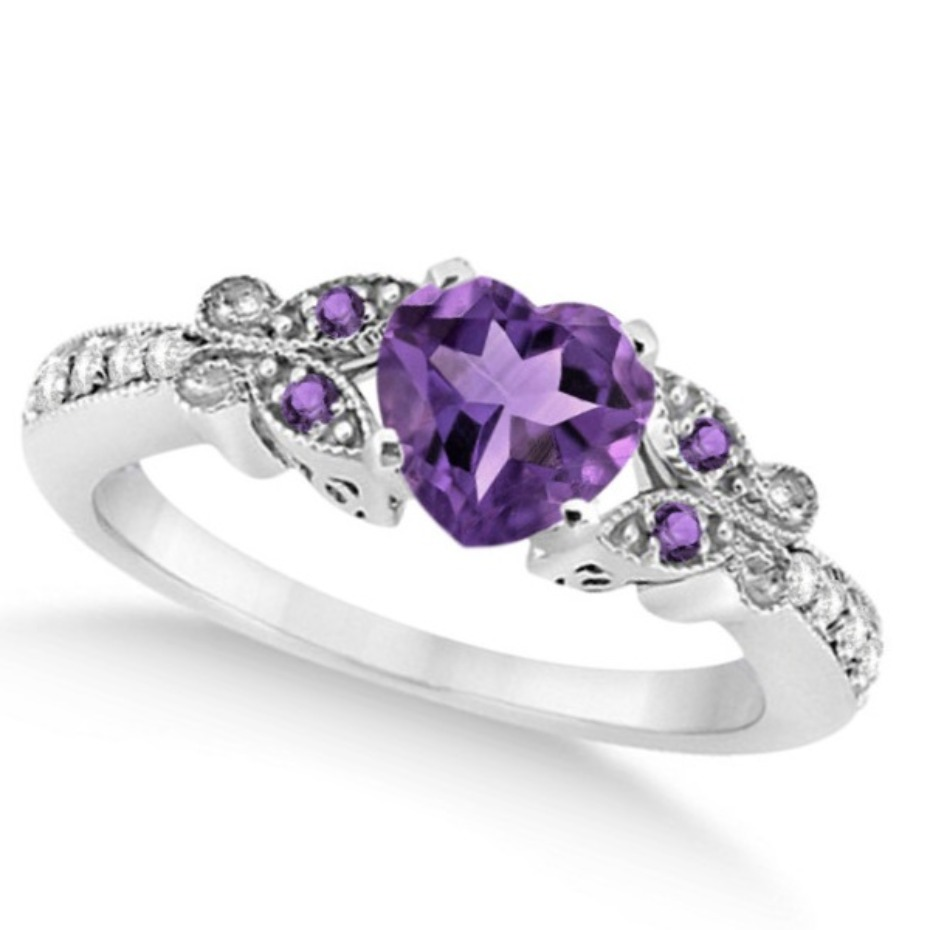 Allurez Amethyst Heart Butterfly Ring