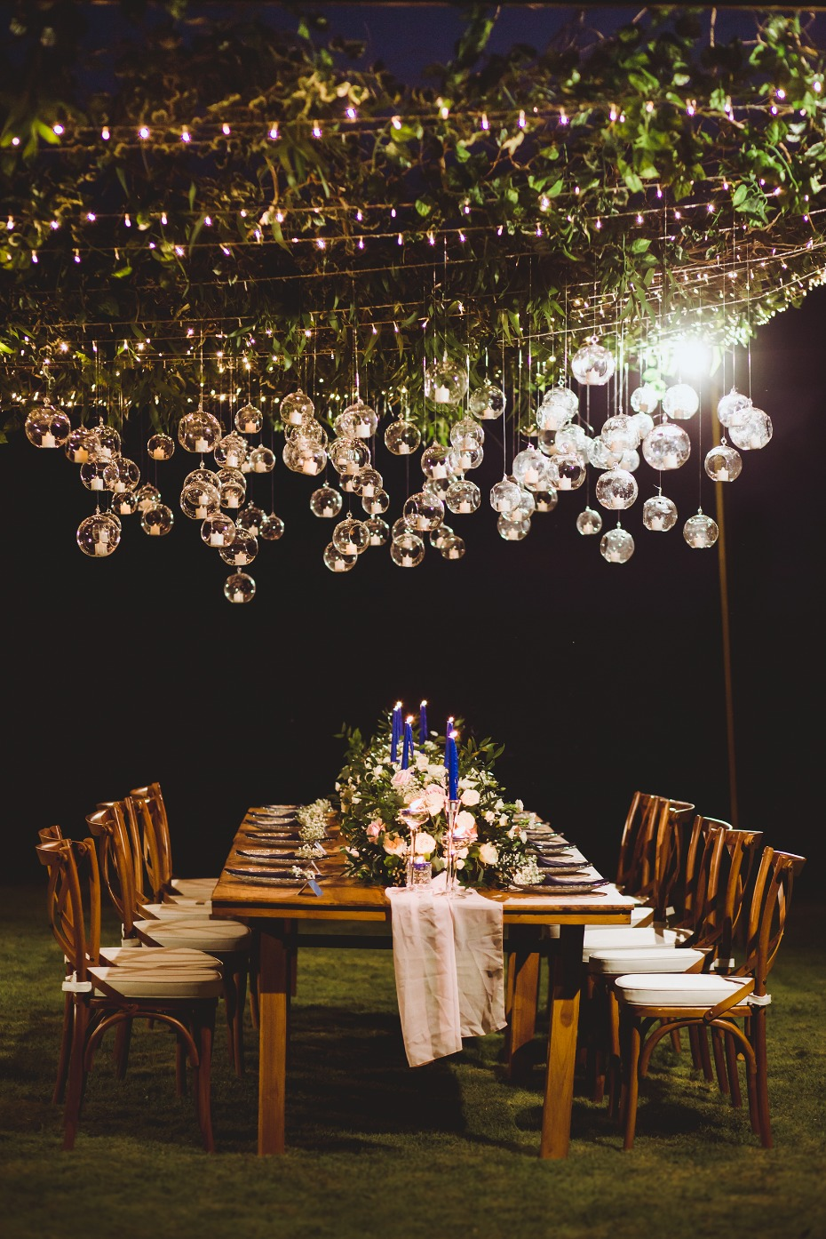 Romantic outdoor reception lighting