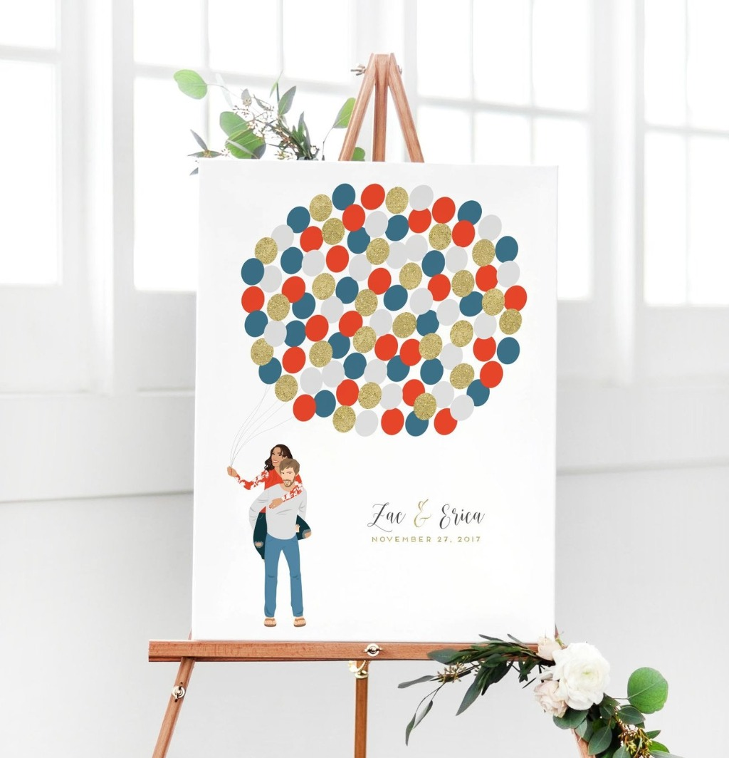 At Miss Design Berry, we LOVE balloons!! And you know what we love more than balloons? Our Balloon Couple Portrait Guest Book Alternative