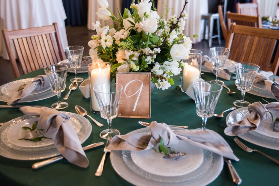 wedding table decor in white green and grey