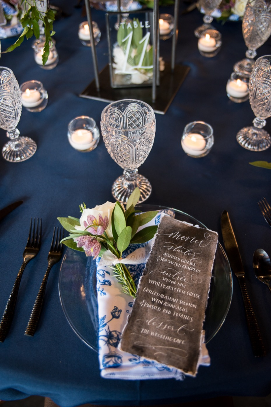 elegant floral place setting