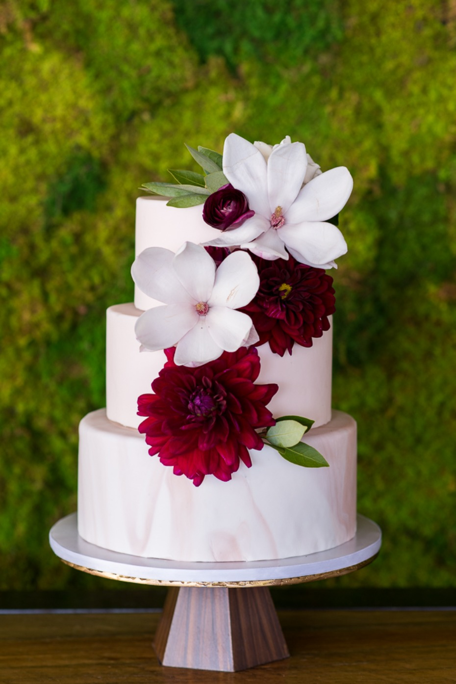 floral topped wedding cake