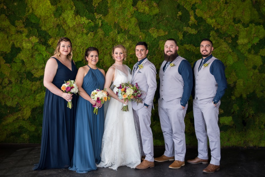 wedding party in blue and grey