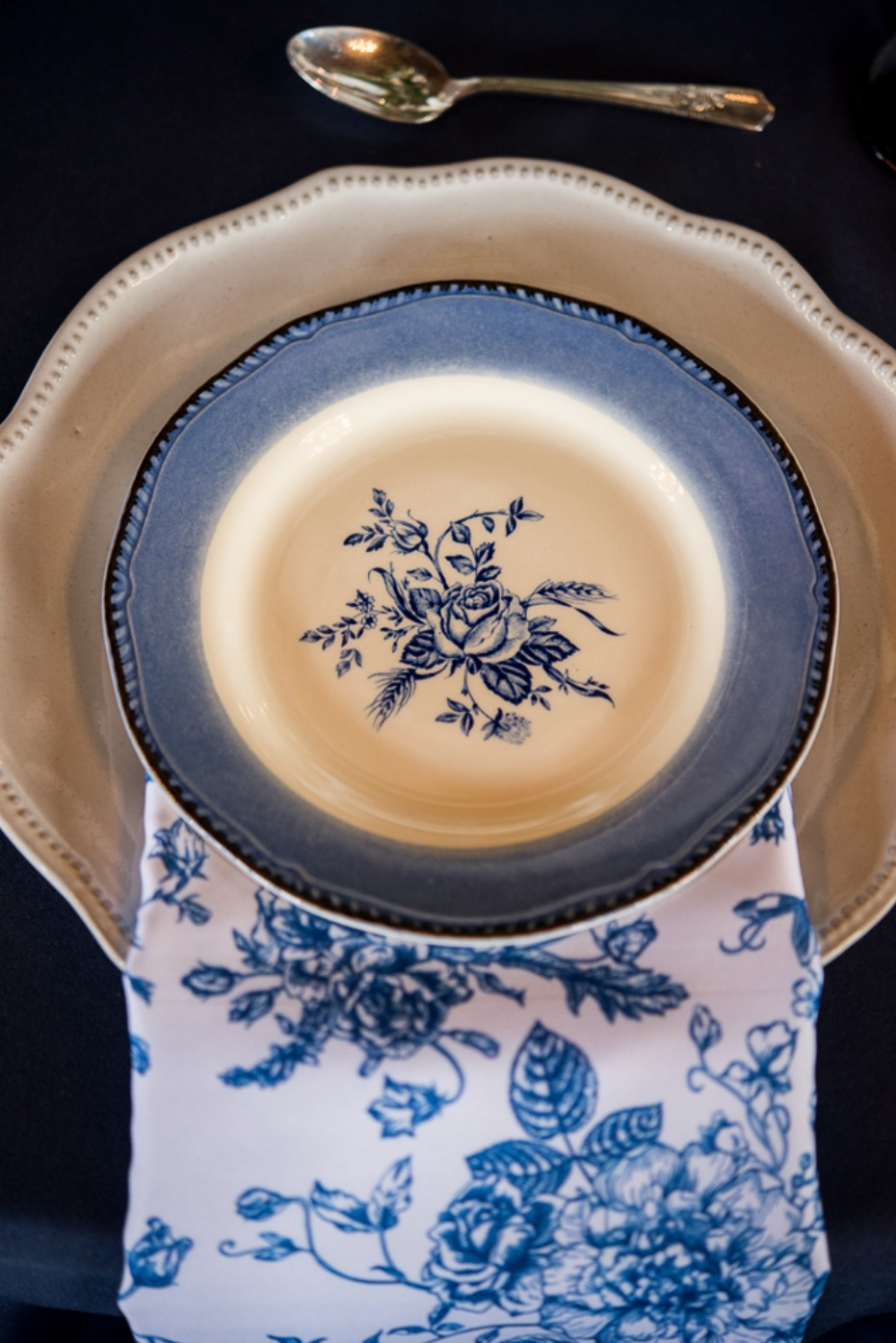 blue rose wedding china and linen