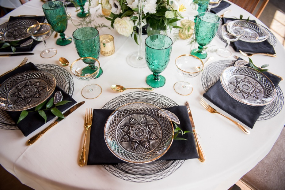 gold and black table setting