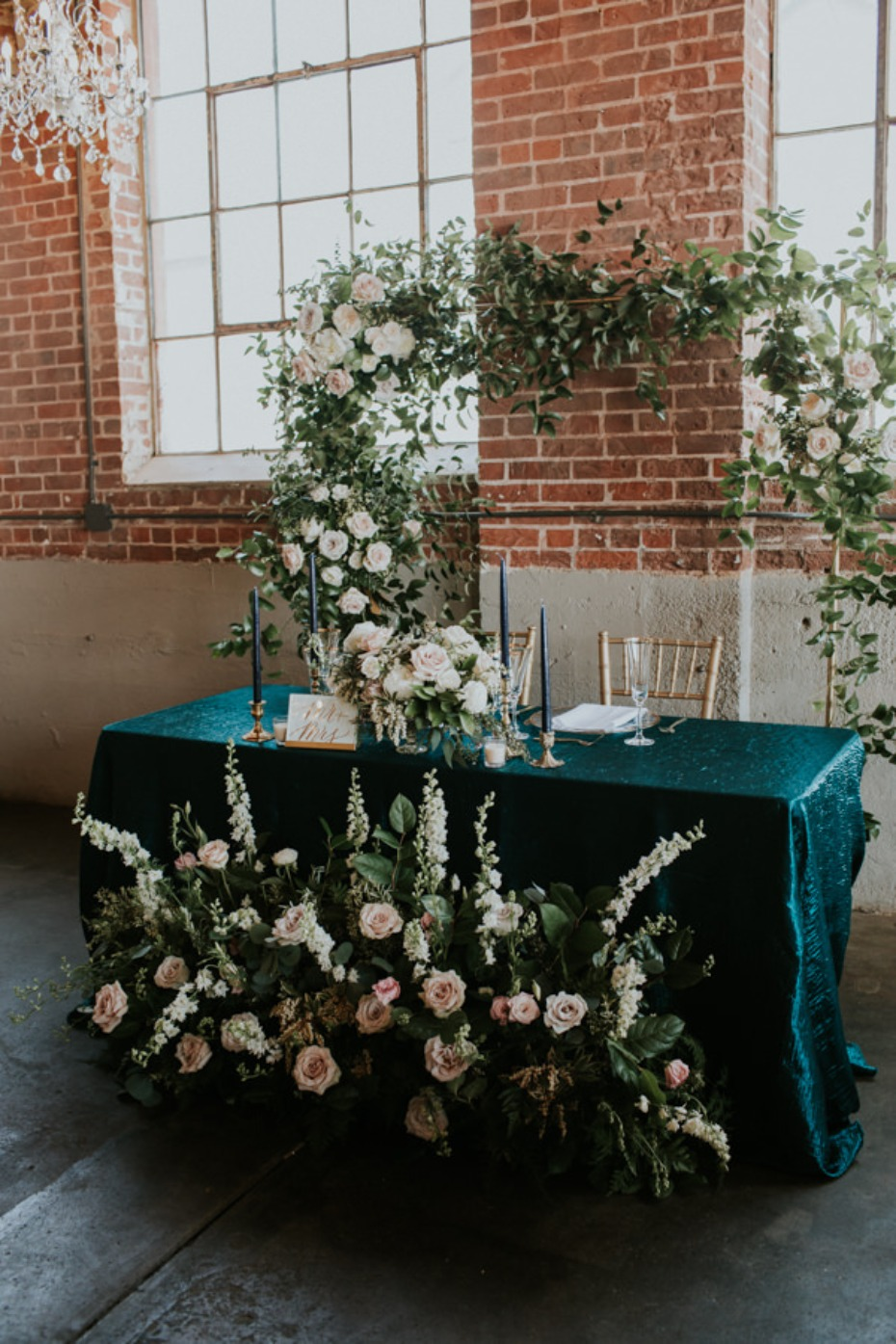 soft pink and white rose sweetheart table decor