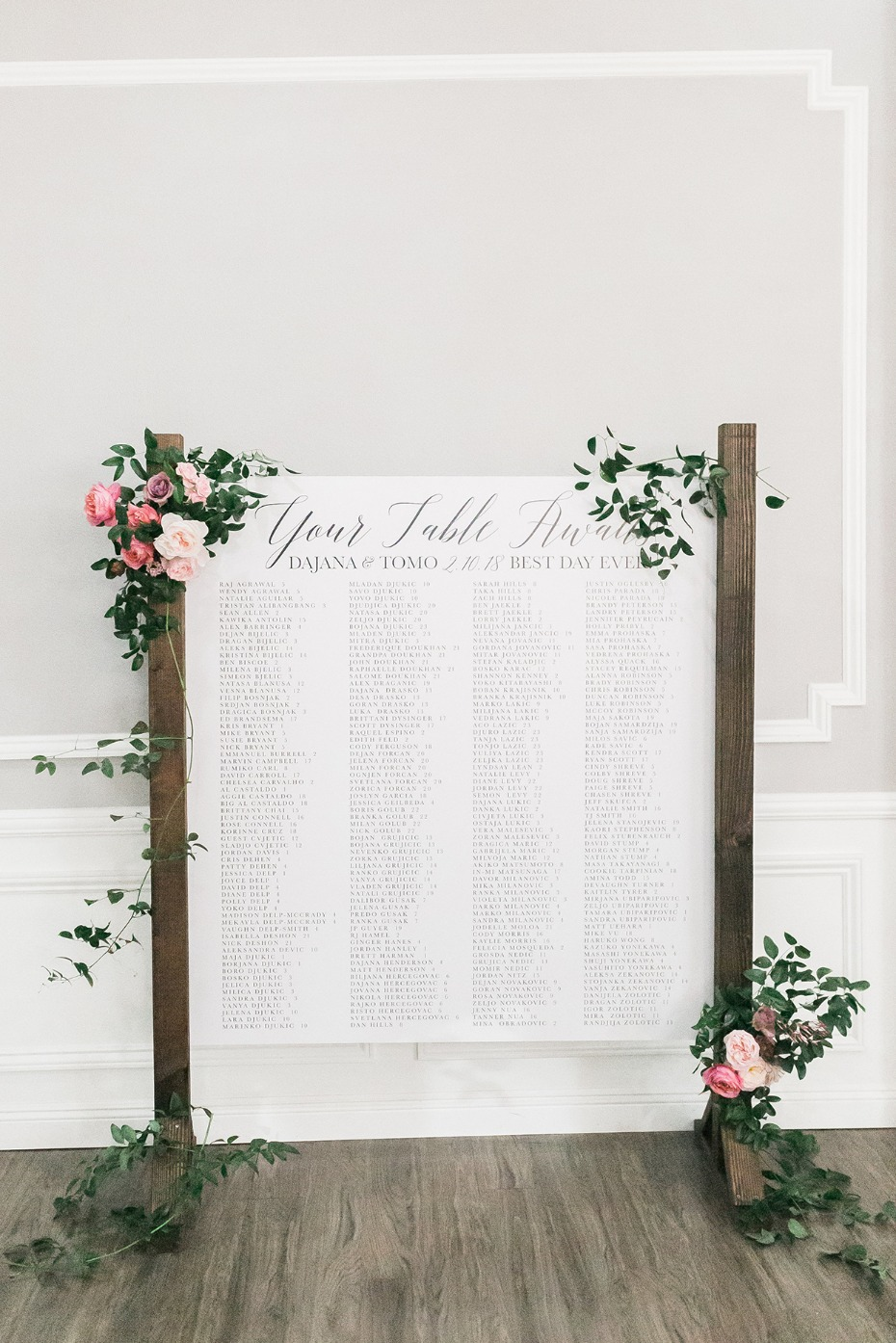 Seating chart for 250 guests