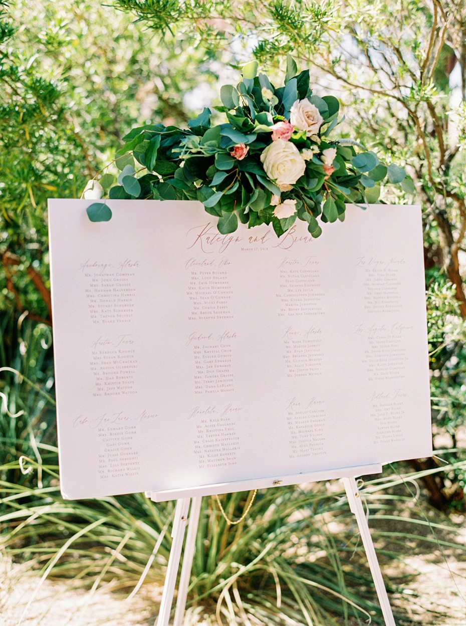 wedding seating assignment idea