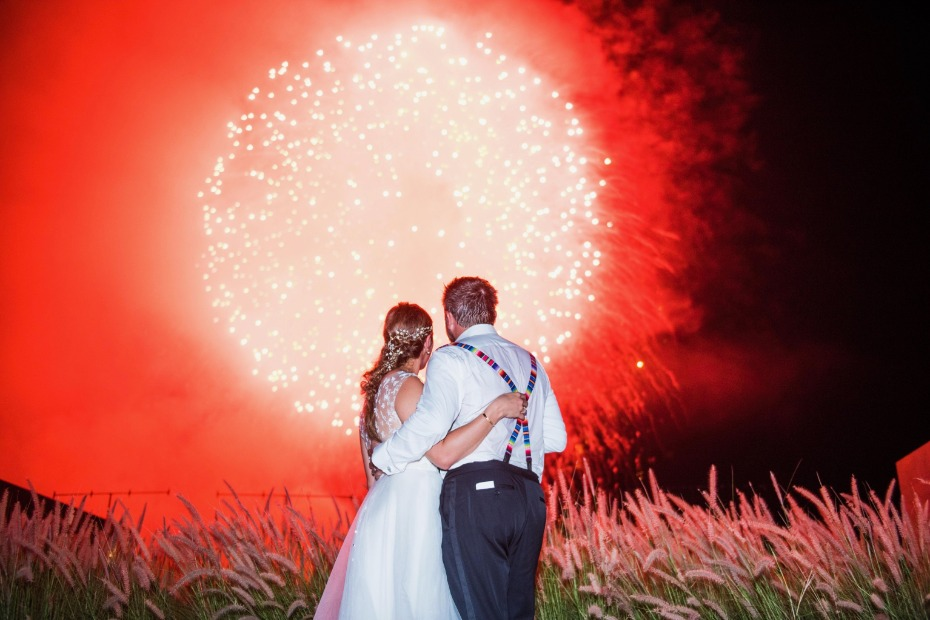 Surprise firework show or the newlyweds