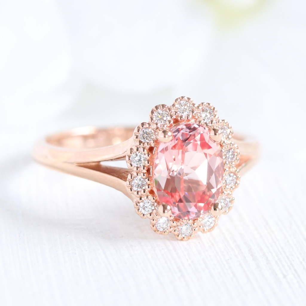 Gorgeous Vintage Halo Engagement Ring of Oval Champagne Peach Sapphire in Split Shank Design in Rose Gold. See more photos and videos