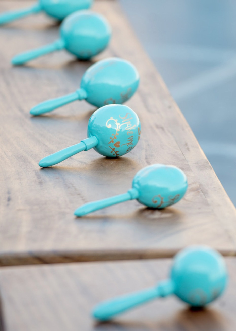Custom maraca wedding favor