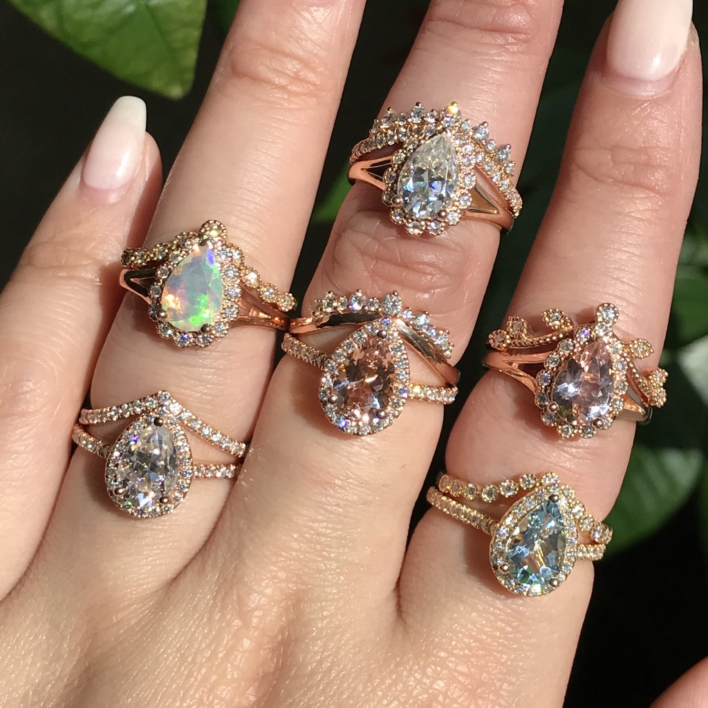 Pear shaped gemstone engagement rings with different colored stones ~ The possibilities are endless! See more from the collection by