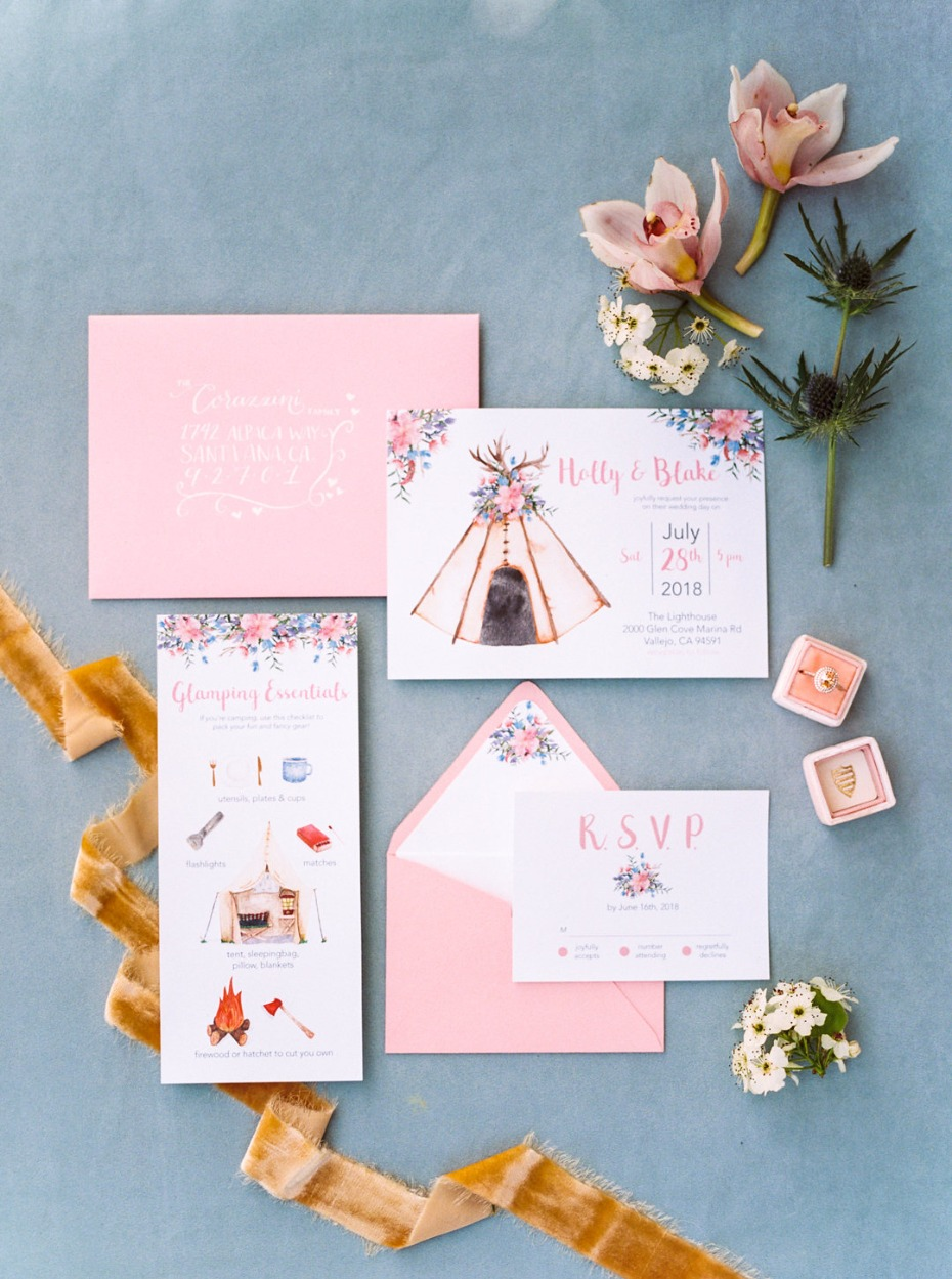 Glamping wedding invitation suite in pink