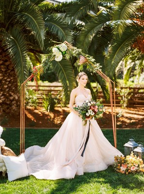 Blue and Blush Tropical Garden Glamping Wedding Inspiration