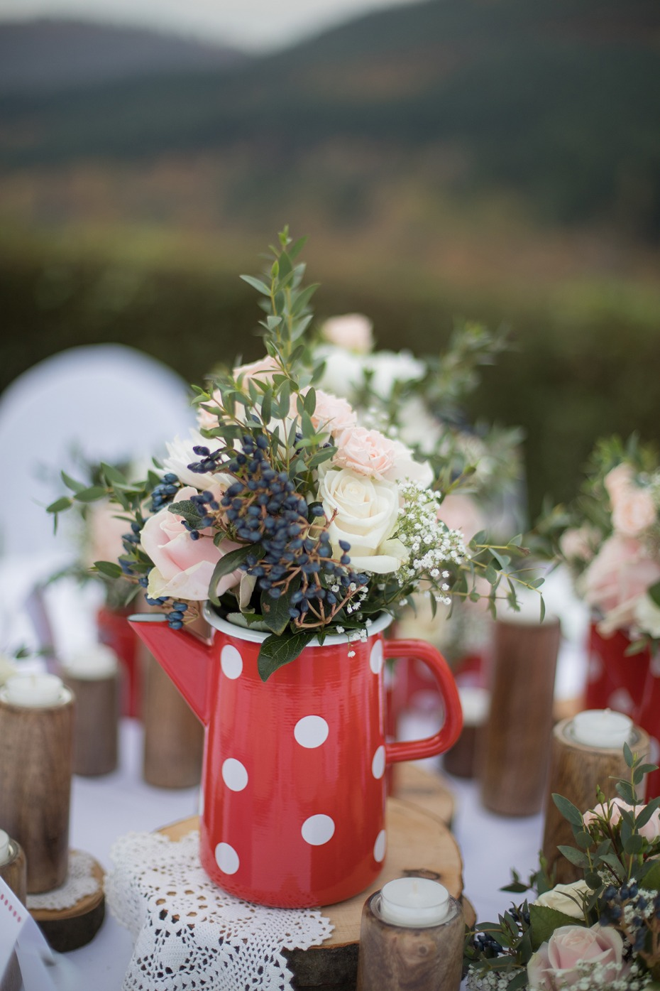 polka dot wedding centerpiece idea