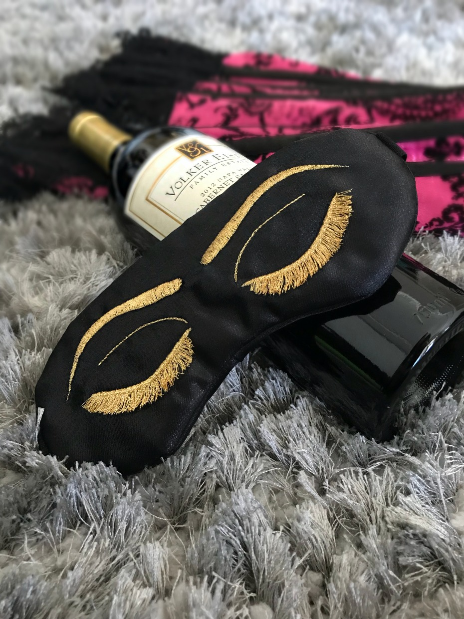 Sleepy Cottage Luxe Sleep Mask Gold and Black Vintage