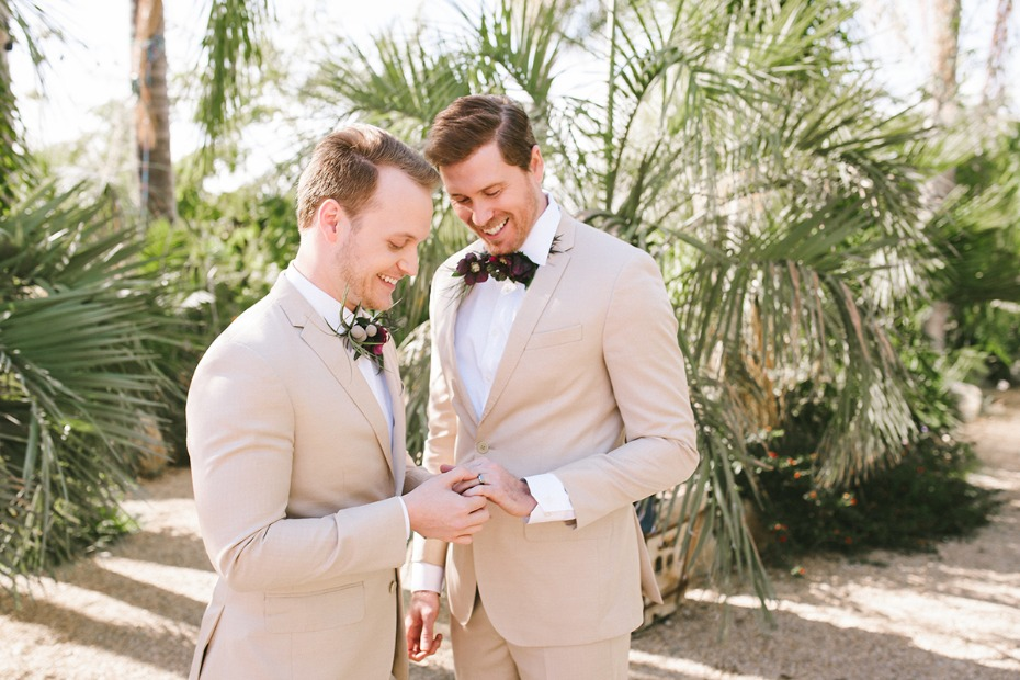 grooms in sand wedding suits