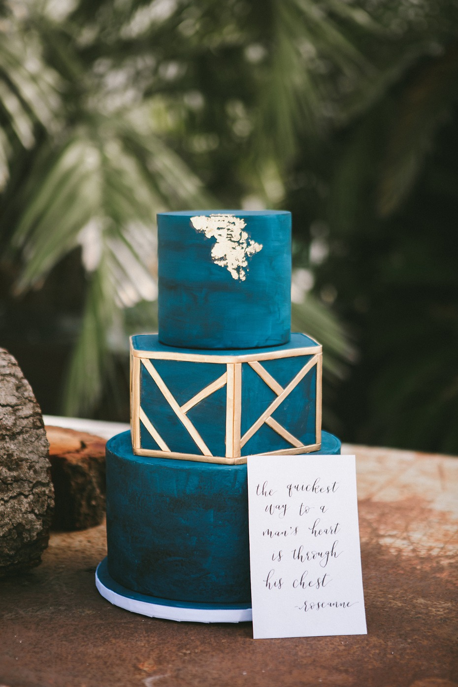 teal modern wedding cake idea