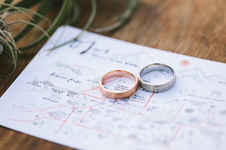 wedding map and wedding rings