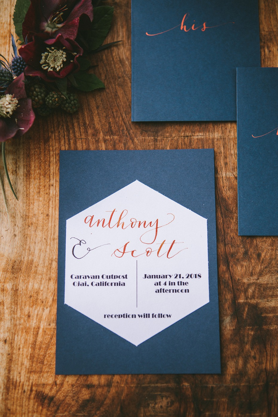 modern blue and copper wedding announcement