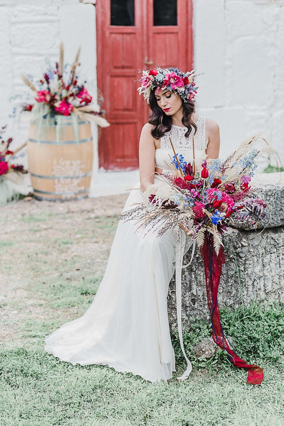 Stunning boho wedding bouquet