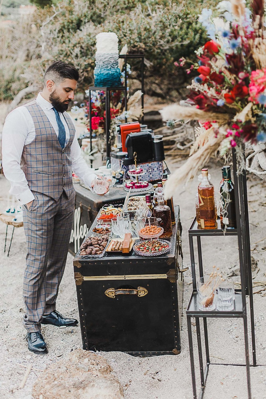 Coffee and whisky bar for a wedding