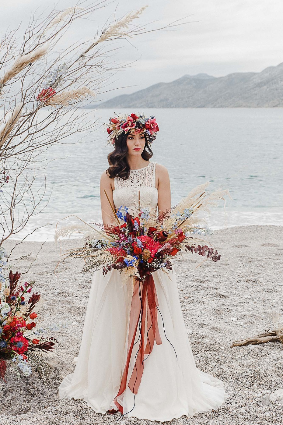 Blue and red wedding bouquet and flower crown