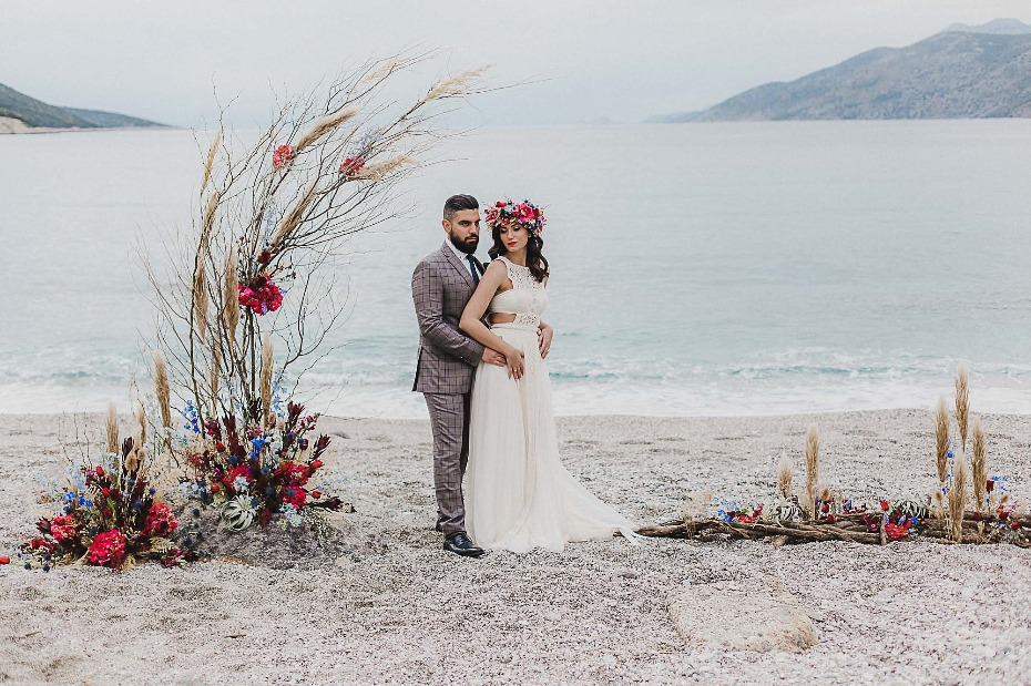 Bohemian beach wedding ideas in Greece