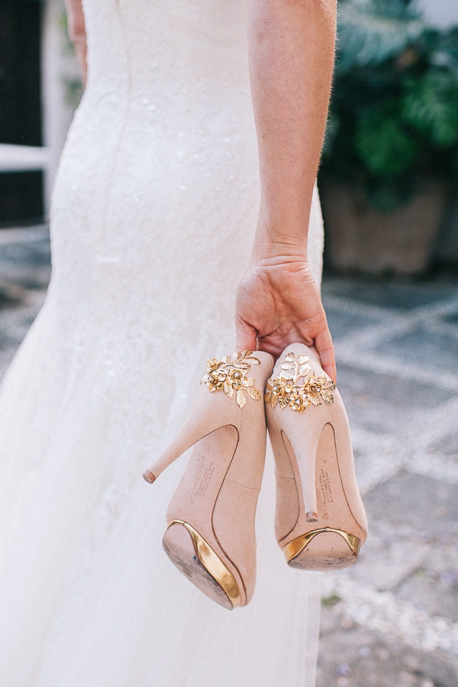 blush and gold wedding shoes