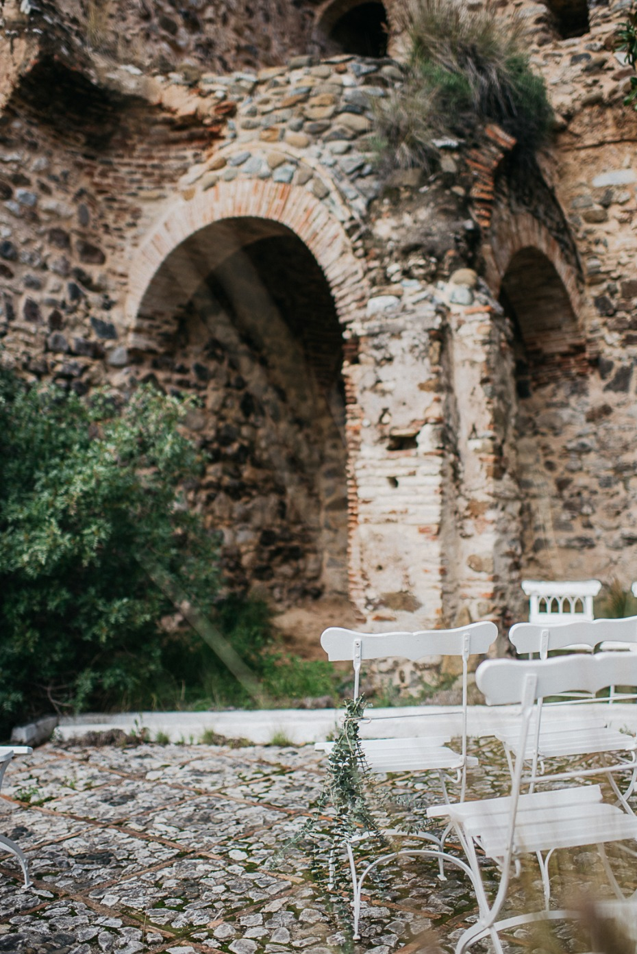 wedding ceremony in historic ruins