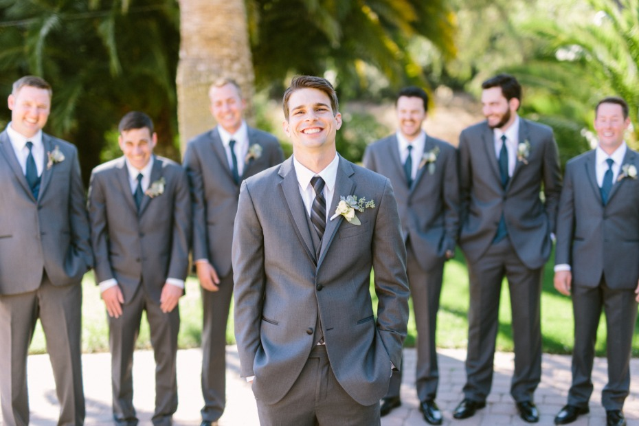 Matching groomsmen in grey
