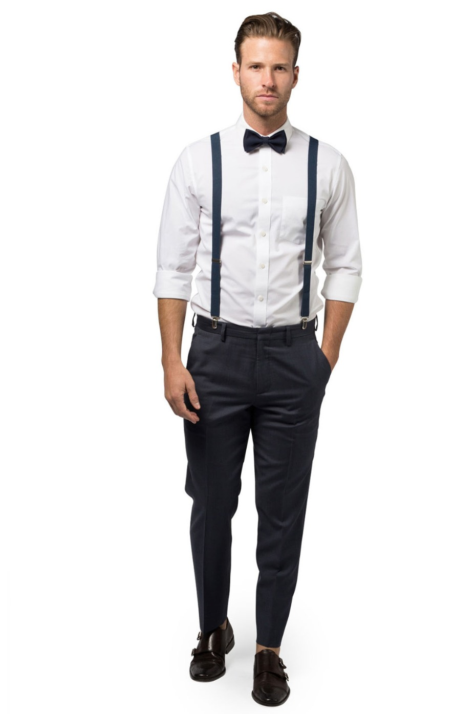 Armoniia Navy Suspenders and Navy Bow Tie