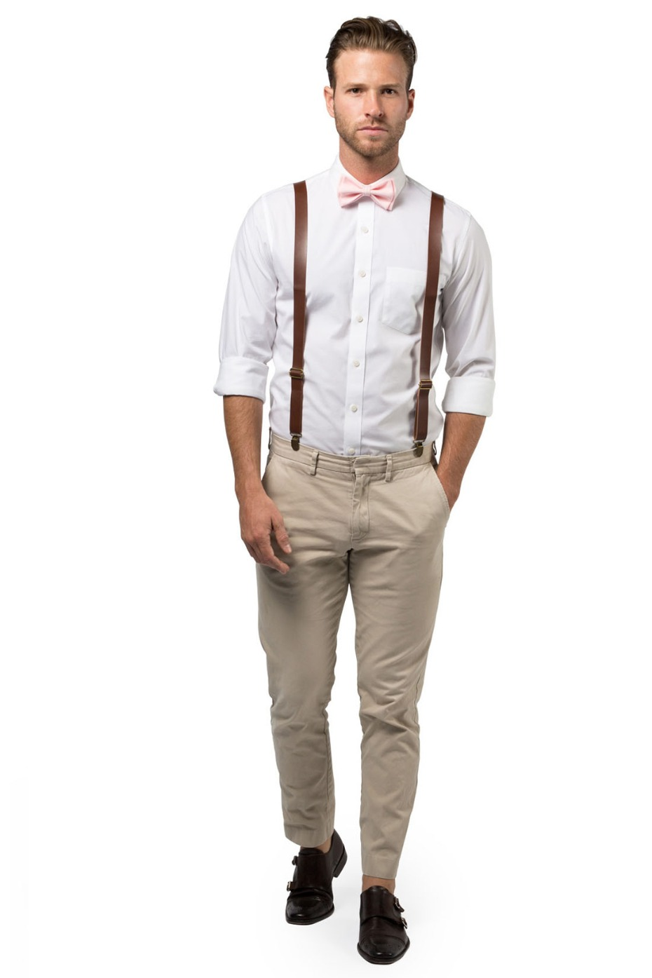 Armoniia Brown Leather Suspenders and Blush Bow Tie