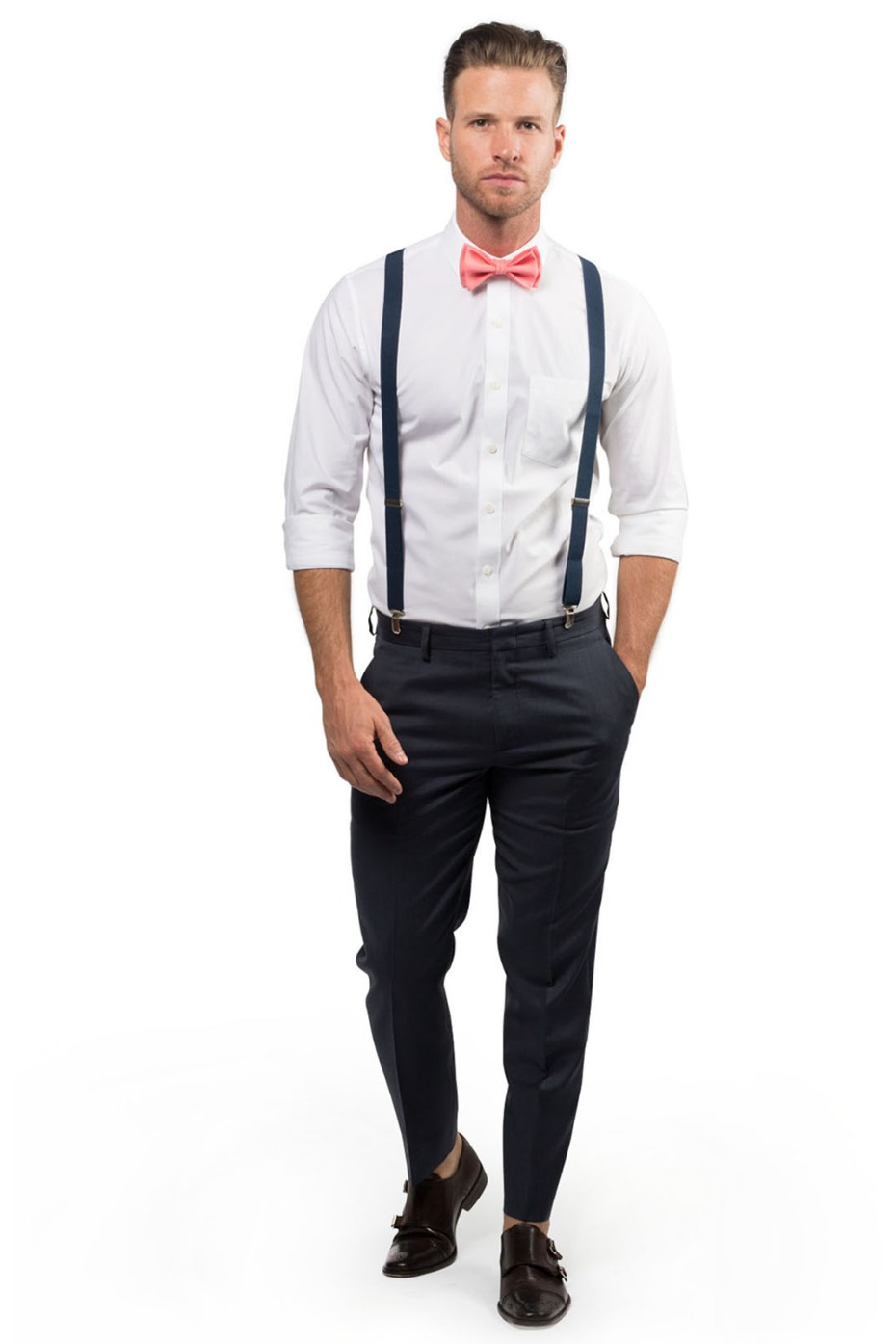 Armoniia Navy Suspenders and Coral Bow Tie