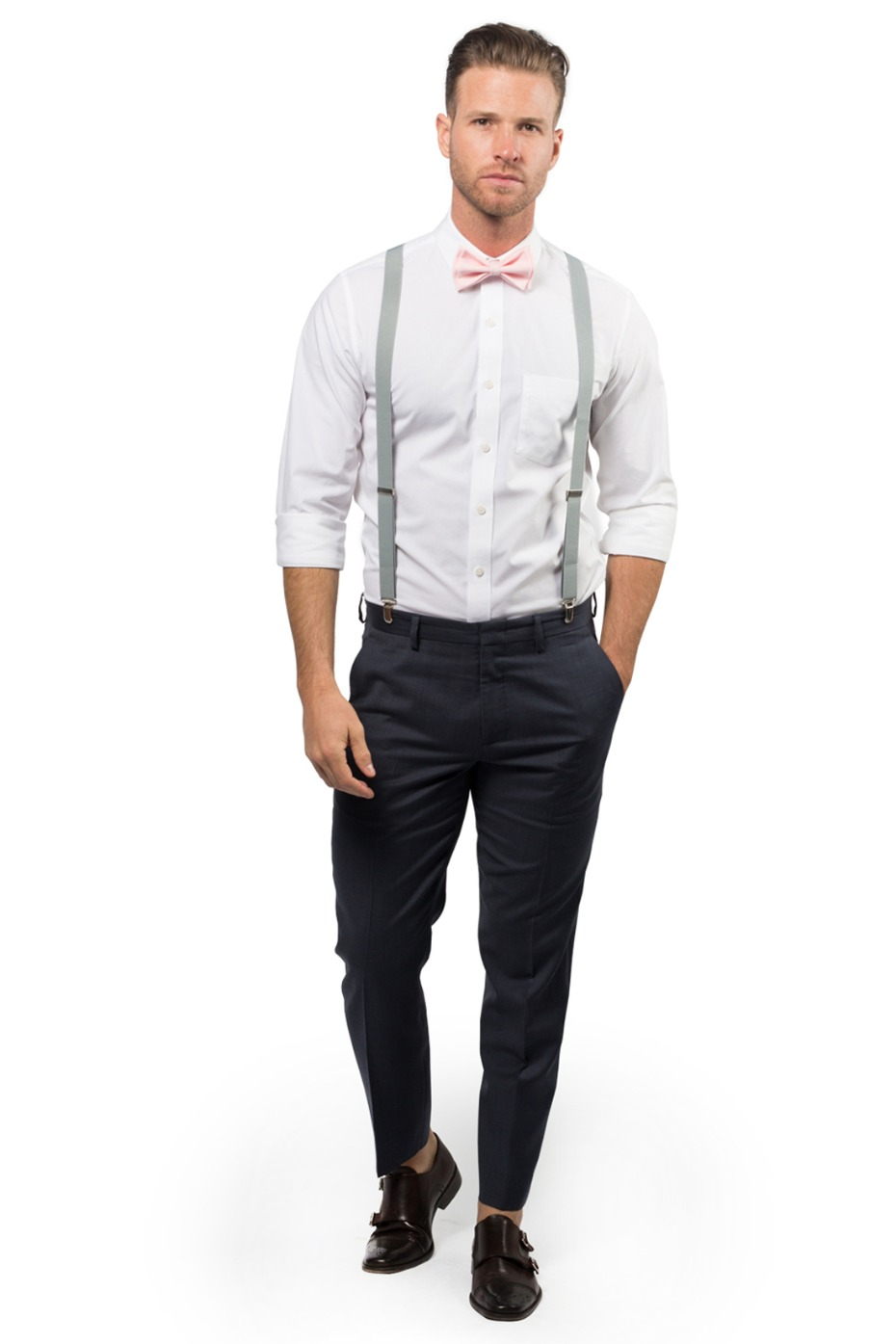 Armoniia Light Gray Suspenders and Blush Bow Tie