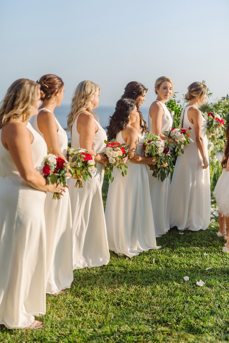 bridesmaids in matching white