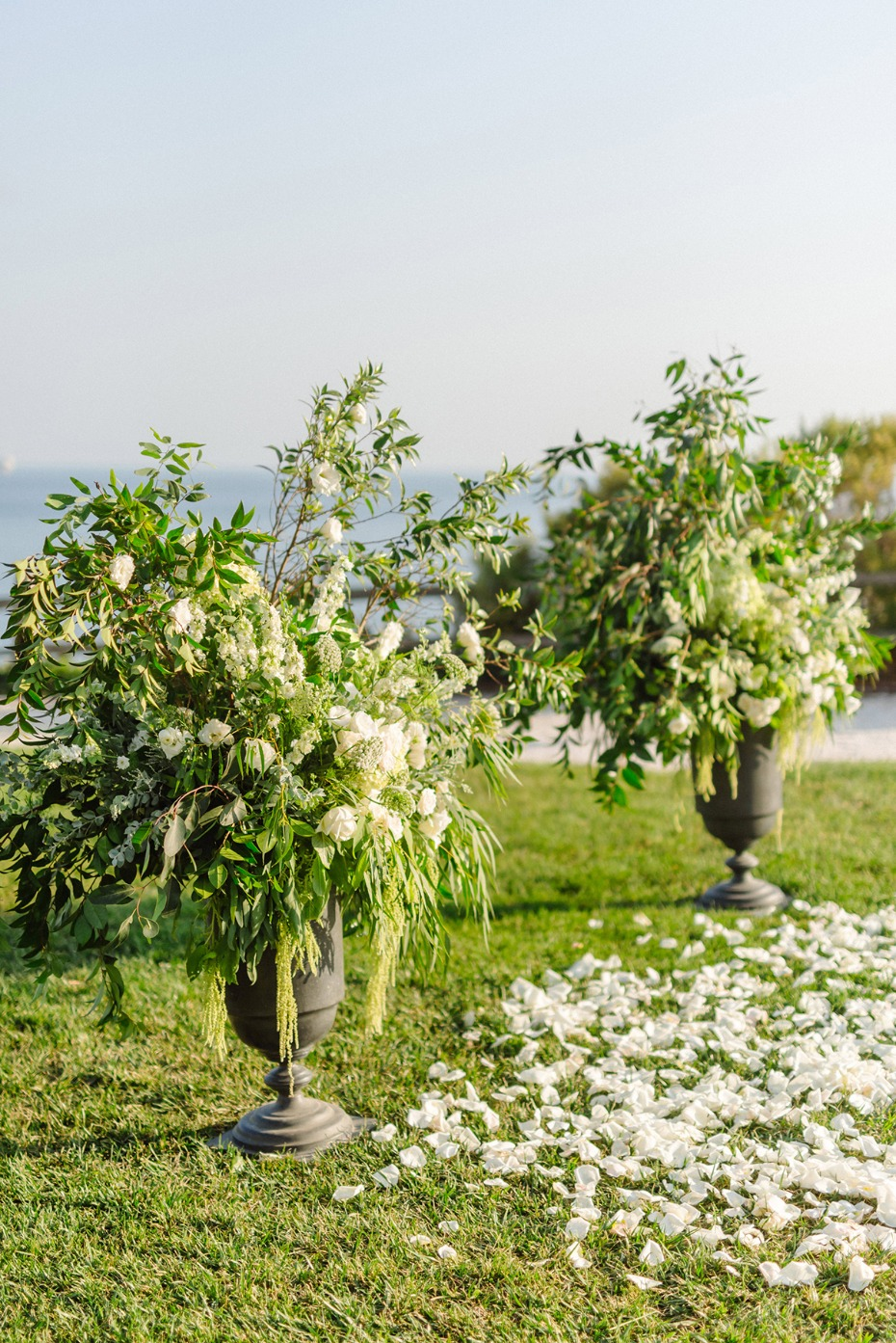 sweet and simple green and white wedding ceremony backdrop