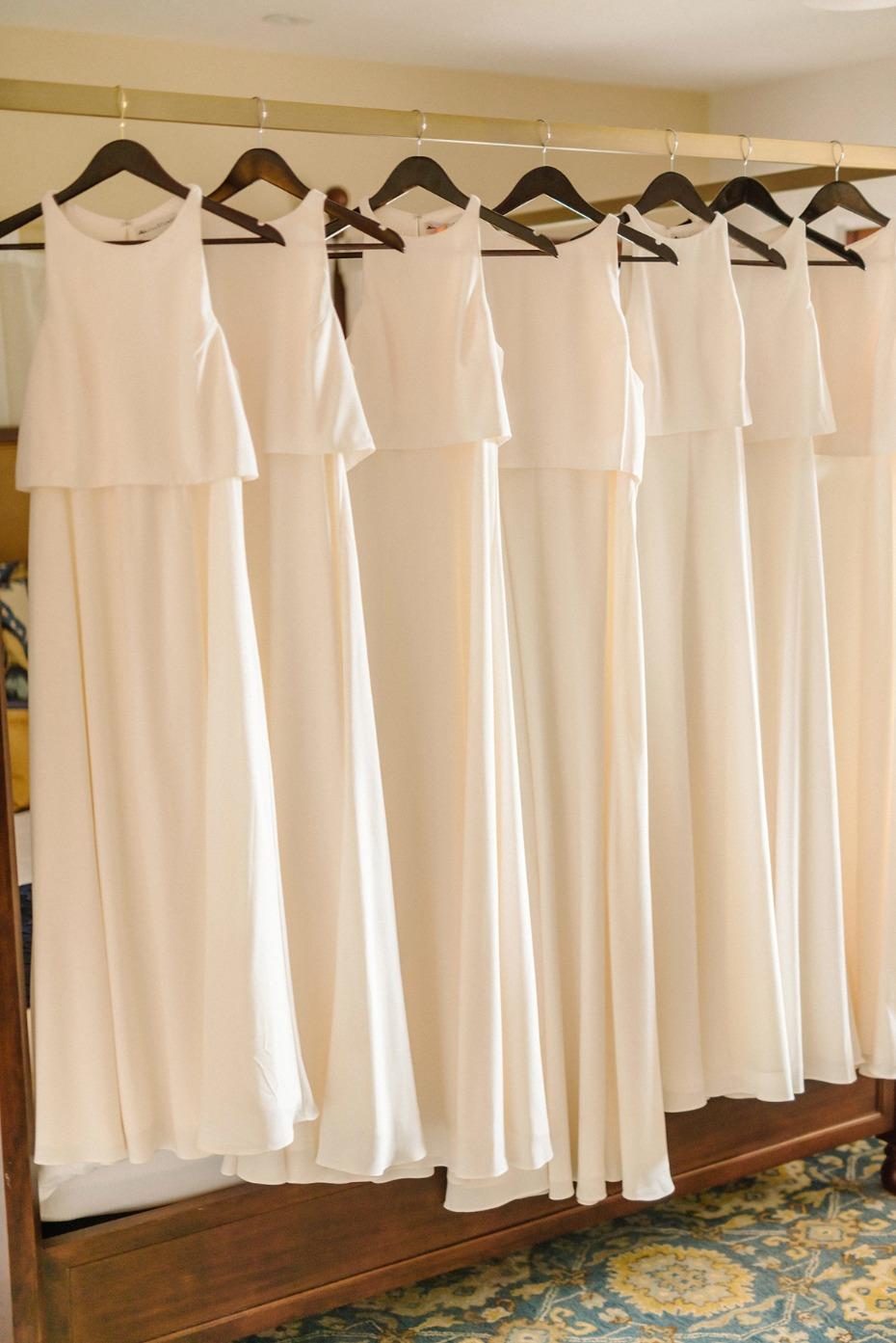 all white and matching bridesmaid dresses