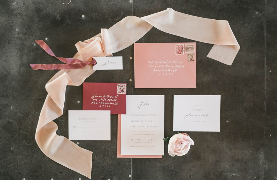 soft pink and burgundy wedding invitations