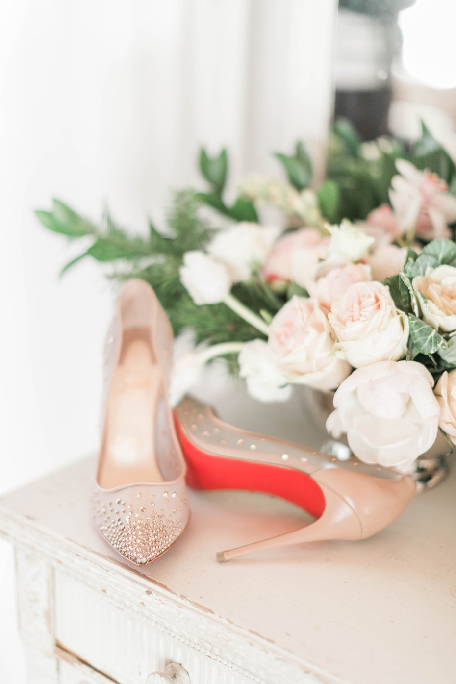red bottomed wedding shoes